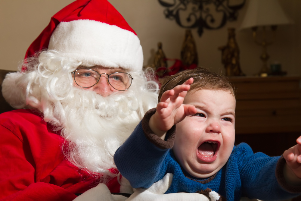 Santa pictures, scared child