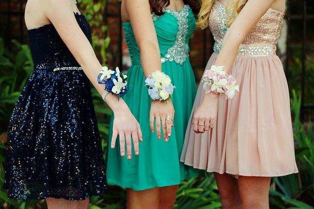 high school girls fun at prom